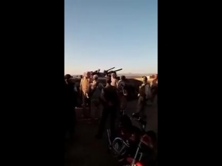 Militants of Bosra al-Sham in Daraa eastern CS handing over their weapons after accepting