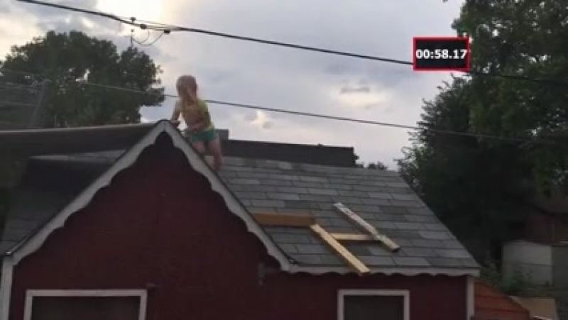Dad builds a ninja warrior course for his daughter...