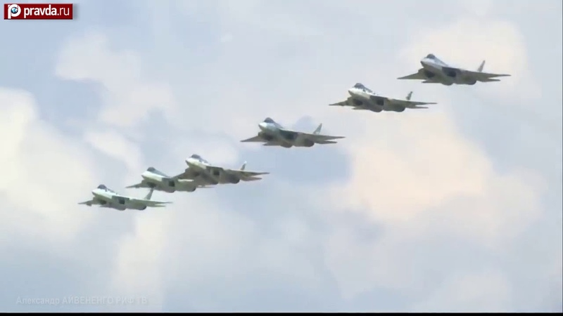 Six Sukhoi Su 57 fifth generation fighters escort Putin's airliner to airport