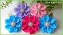 Заколка канзаши клик клак Kanzashi Flower Hairclip Tic tac Decorado com Flor de Fita Ola ameS DIY
