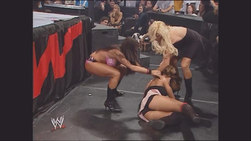 Torrie Wilson, Trish Stratus, Candice, Mickie James Victoria Segment: Raw, Dec. 5, 2005