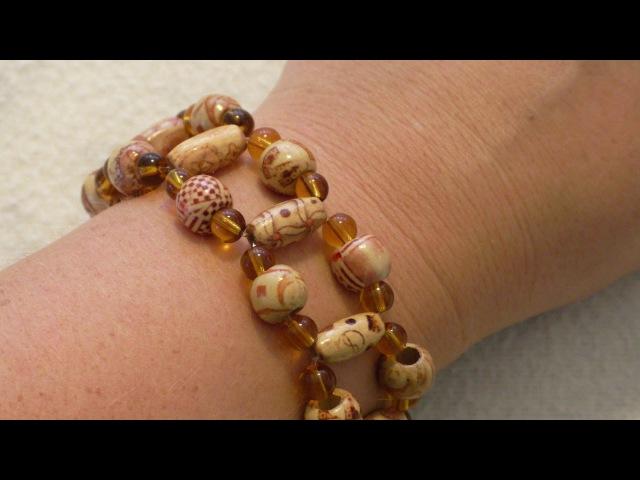 Браслет из Деревянных Бусин Wood Bead Stretch Bracelet