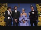 Леди Гага, Марк Ронсон, Эндрю Уайт и Энтони Россомэндо за кулисами премии Золотой Глобус 2019.