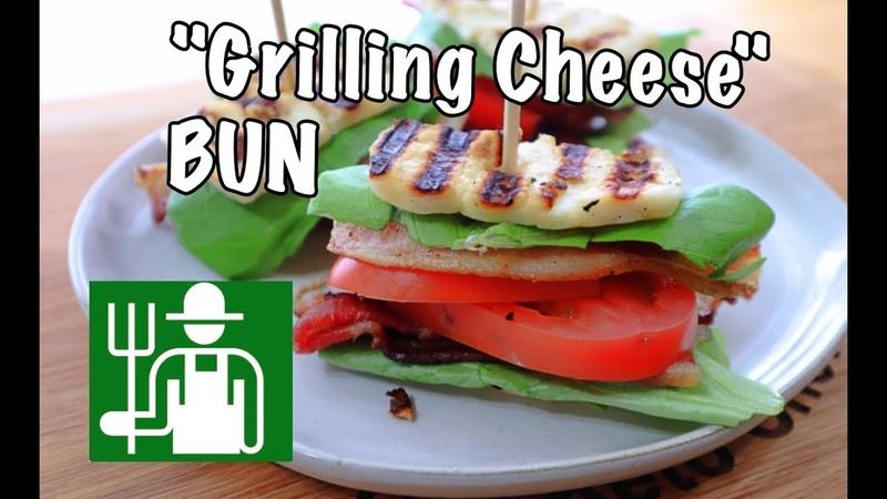 Keto BLT Sandwich with Halloumi Cheese as a Bun