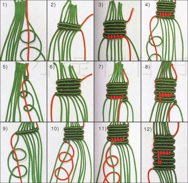 Схема фенечки Прямое плетение.