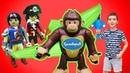 Playmobil конструктор. Фигурки из мультсериала СУПЕР 4 Суперчетверка и робот Клеано VS Кинг Конг!