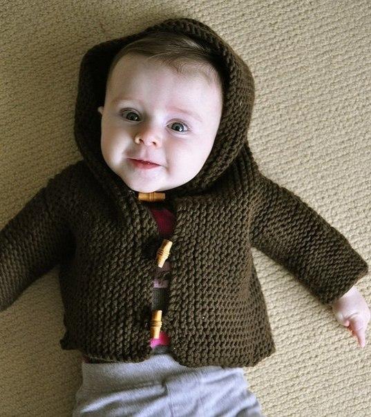 Вязаный жакет с капюшоном для мальчика…. (9 фото) - картинка
