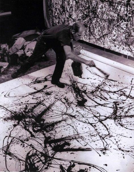 Пол Джексон Поллок за работой. Нью-Йорк, 1948 год.