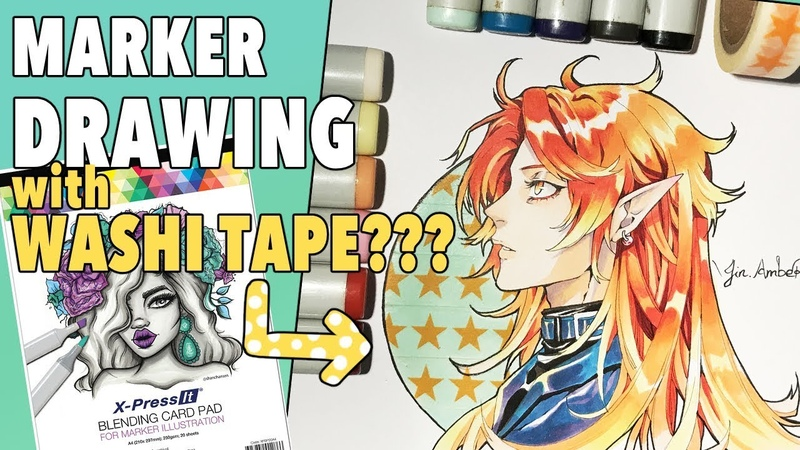 Drawing with COPIC MARKERS and WASHI TAPE! | and A lttle review on the X -Press It Blending Card Pad