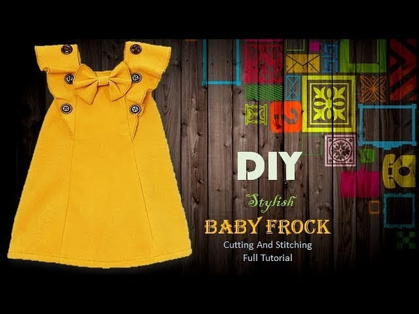 DIY Cute Baby Frock With Ruffled Neck pattern Full Tutorial