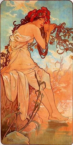 Альфонс Муха Четыре сезона. 1900, Цветная литография. Акварель, тушь, перо.