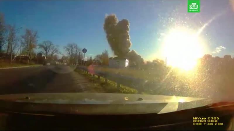 Момент взрыва на заводе пиротехники