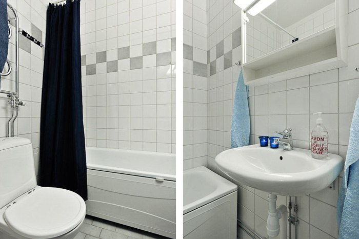 Маленькая квартира-студия 23 м с мини-кухней и спальней в нише за шторами.