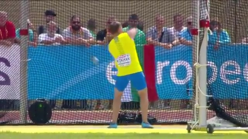 A huge throw from Myhaylo Kokhan in the qualifying round of the hammer The reigning world U18 hammer surpassed the automati