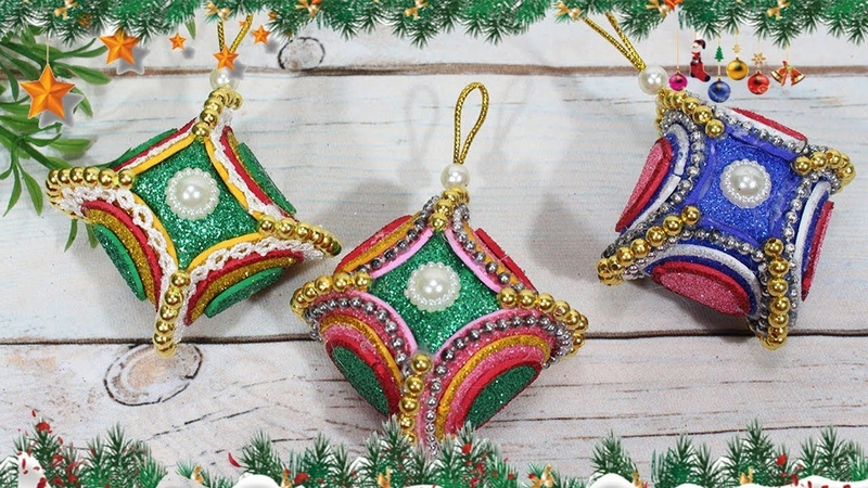 Diy christmas ornaments 2018 | Craft with glitter foam sheet