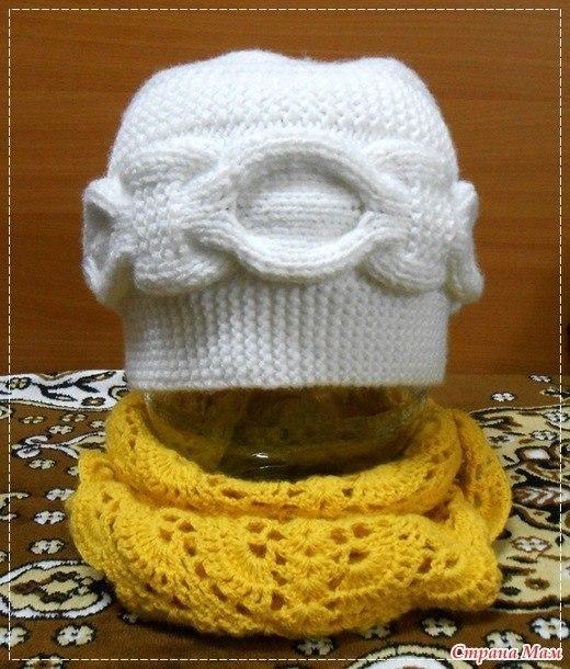 Вязаная шапка спицами с поперечным вязанием