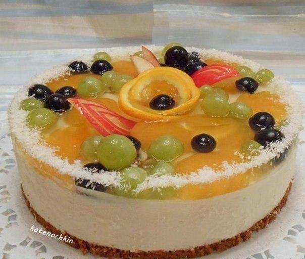 Фруктовый торты желейный с фото