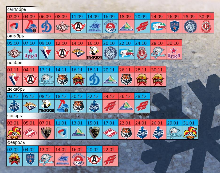 Календарь игр ХК Сибирь в сезоне 2018-2019