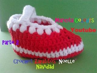Crochet Tutorial Bebe Zapatitos Noelle (Parte 2) Navidad Escarpines