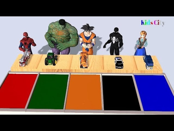 Learn Colors with Spiderman Hulk Sangoku Black Spiderman Anna and Street Vehicles for Children