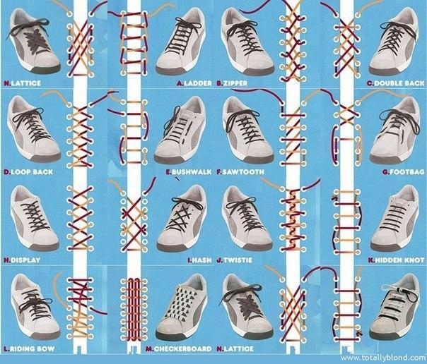 Как зашнуровать кроссовки или кеды. 16 крутых способов.