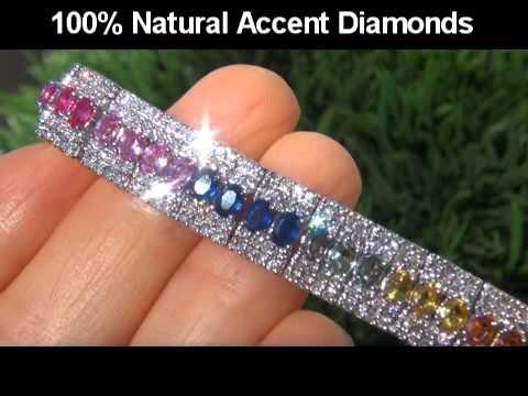VIVID 12.80 Carat Multi-Colored Sapphire Diamond Bracelet - 39.10 Grams of Solid 14K Gold