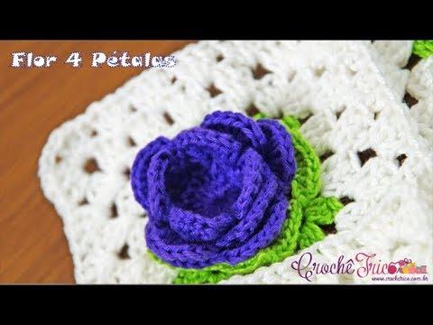 Flor 4 Pétalas em Crochê - Destras - Prof. Ivy (Crochê Tricô)