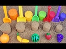 ABC song Sand molds fruits Play with toy shovels on outdoor playground for kids