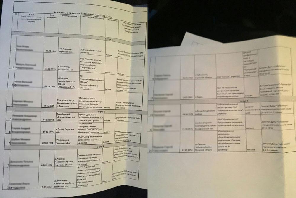 списки кандидатов от ер, Чайковский, 2018 год