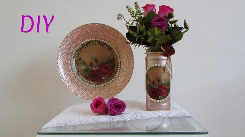 DIY 2 ideias de decoração rose gold super linda🌸Prato decorativo e cachepot