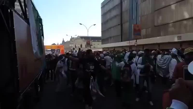 فرحة الجمهور الجزائري في البرازيل قبيل مباراة روسيا mp4