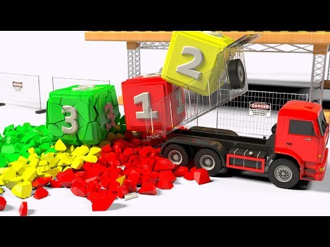 Learn Colors for Kids. Learn Numbers with a DumpTruck, Crane and a magik colored liquid