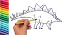 Drawing And Coloring Stegosaur - How to Draw Dinosaurs Color page For Children