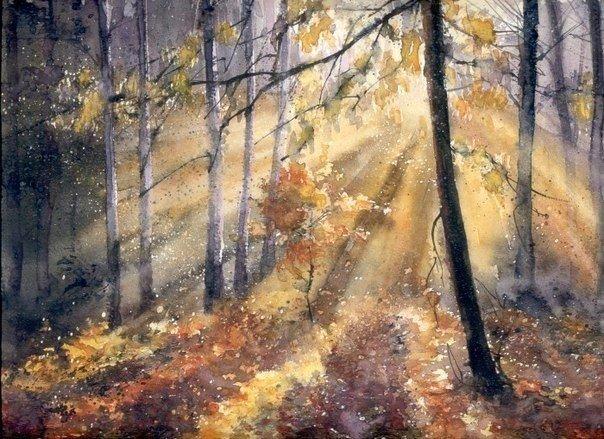 Акварельные лучи, пробивающиеся сквозь леса, от художника Malgorzata Szczecinska