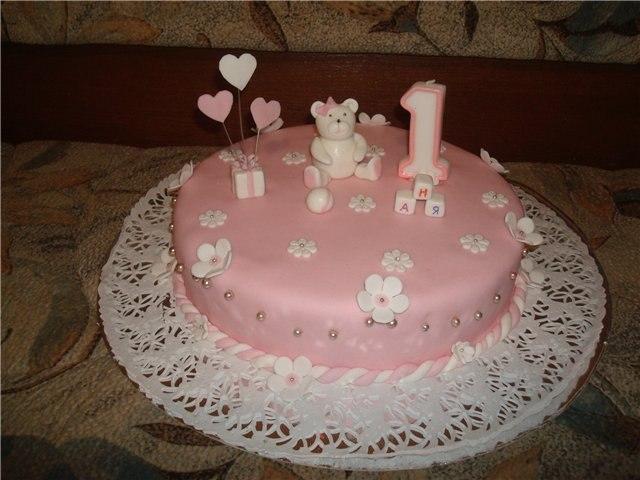 Торт на первый день рождения из мастики своими руками