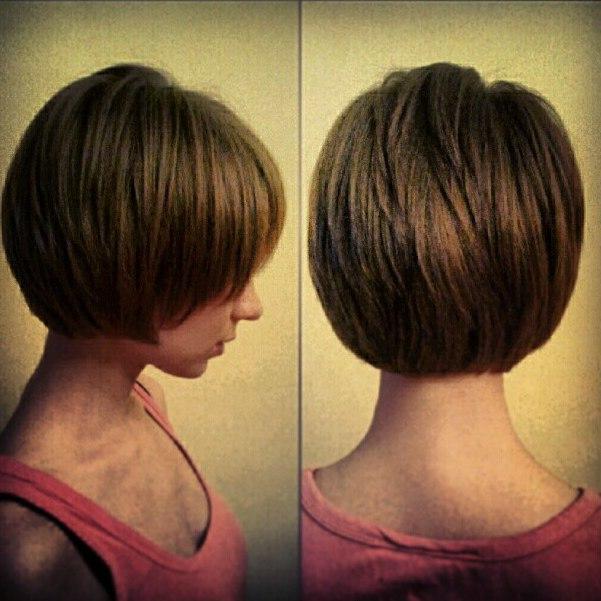 Стрижка на короткие волосы без челки вид сзади и спереди
