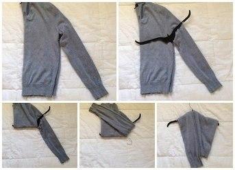 Чтобы свитер или кофта не растягивались, вешайте их на вешалку вот так.
