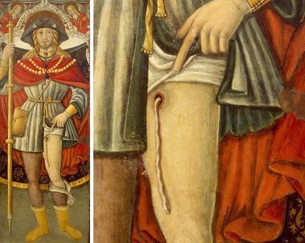 Паразит, упомянутый в Библии Католический святой Рох считается покровителем всех, кто страдает от тяжёлых заболеваний. Согласно преданию он сам переболел чумой, так что о мучениях и боли знает
