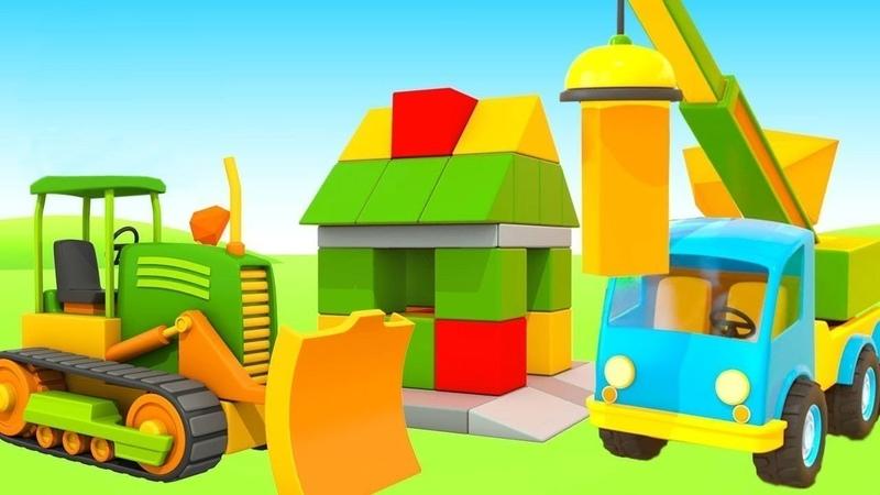 Helfer Autos auf der Baustelle. Zeichentrickfilm für Kinder.
