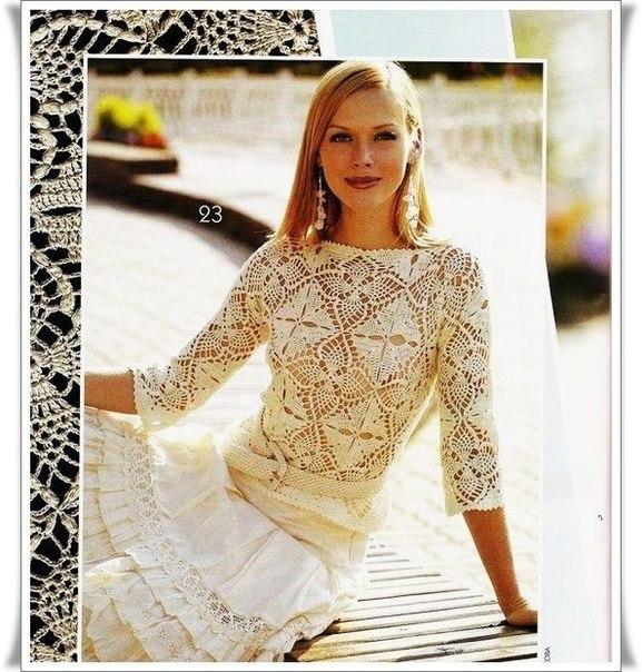 Красивая блузка из мотивов (5 фото)