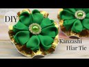 DIY Kanzashi Hair Tie/St. Patrick's Day Ponytail holder /Kanzashi Clover