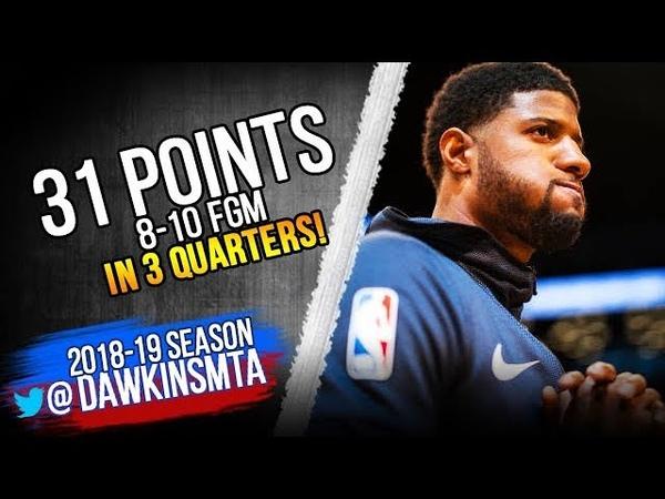 Paul George Full Highlights 2018.12.10 Thunder vs Jazz - 31 Pts, 8-10 FG in 3 QTRS!   FreeDawkins