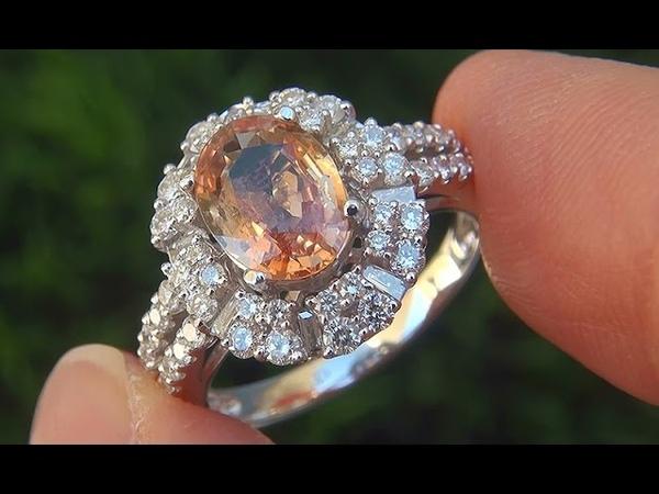 GIA Natural VVS Orange Sapphire Diamond 18k White Gold Engagement Ring - C572