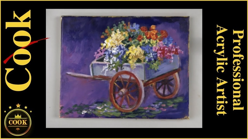 Painting A Companion Flower Cart in Acrylics for Beginners with Ginger Cook
