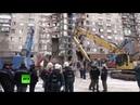 Поисково-спасательные работы на месте обрушения подъезда в Магнитогорске