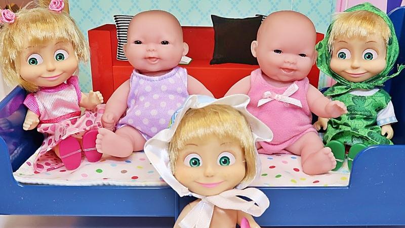 5 Маша и Медведь Пупсики Прыгали в Кроватке Упали Песенка Зырики ТВ five little babies мультик 2016