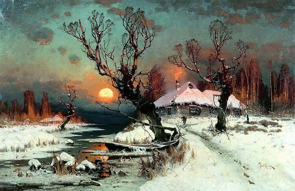 Картина«Закaт солнца зимой», 1897 год.