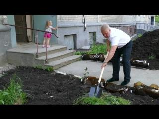 Высадка цветочной клумбы на Богдана Хмельницкого, 26