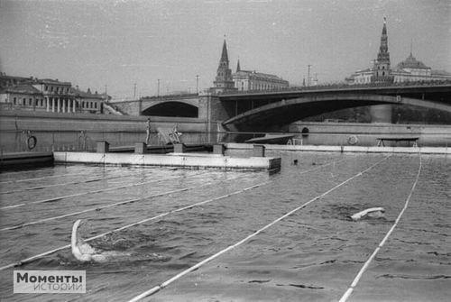 Фото бассейна в Москве-реке, 1938 Вот это да!