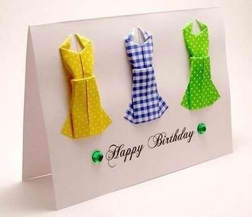 Окрытка с платьем оригами(мини